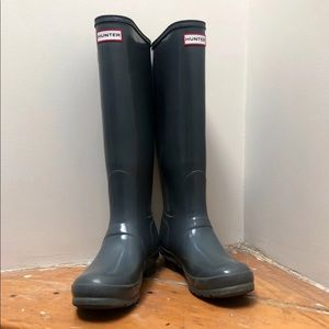 Hunter Boots, Glossy Gray, size 8.5